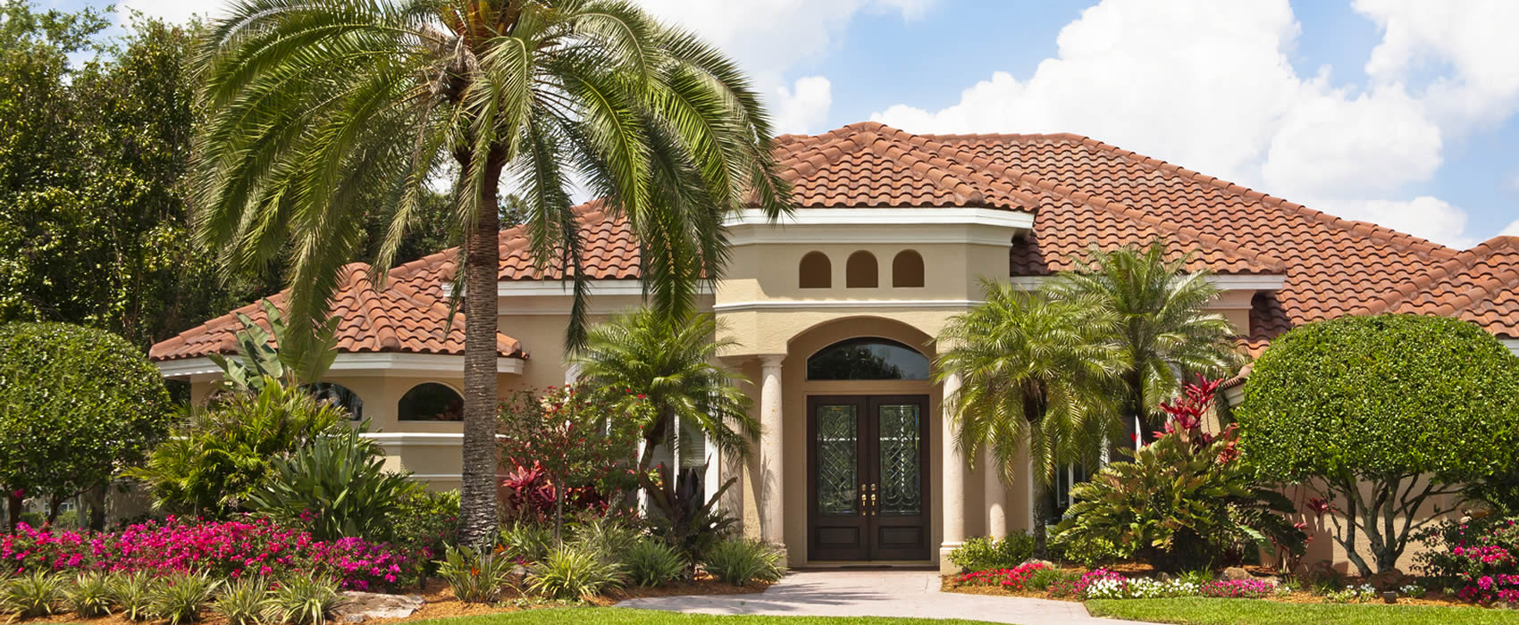 Front elevation of Luxury home & tropical garden